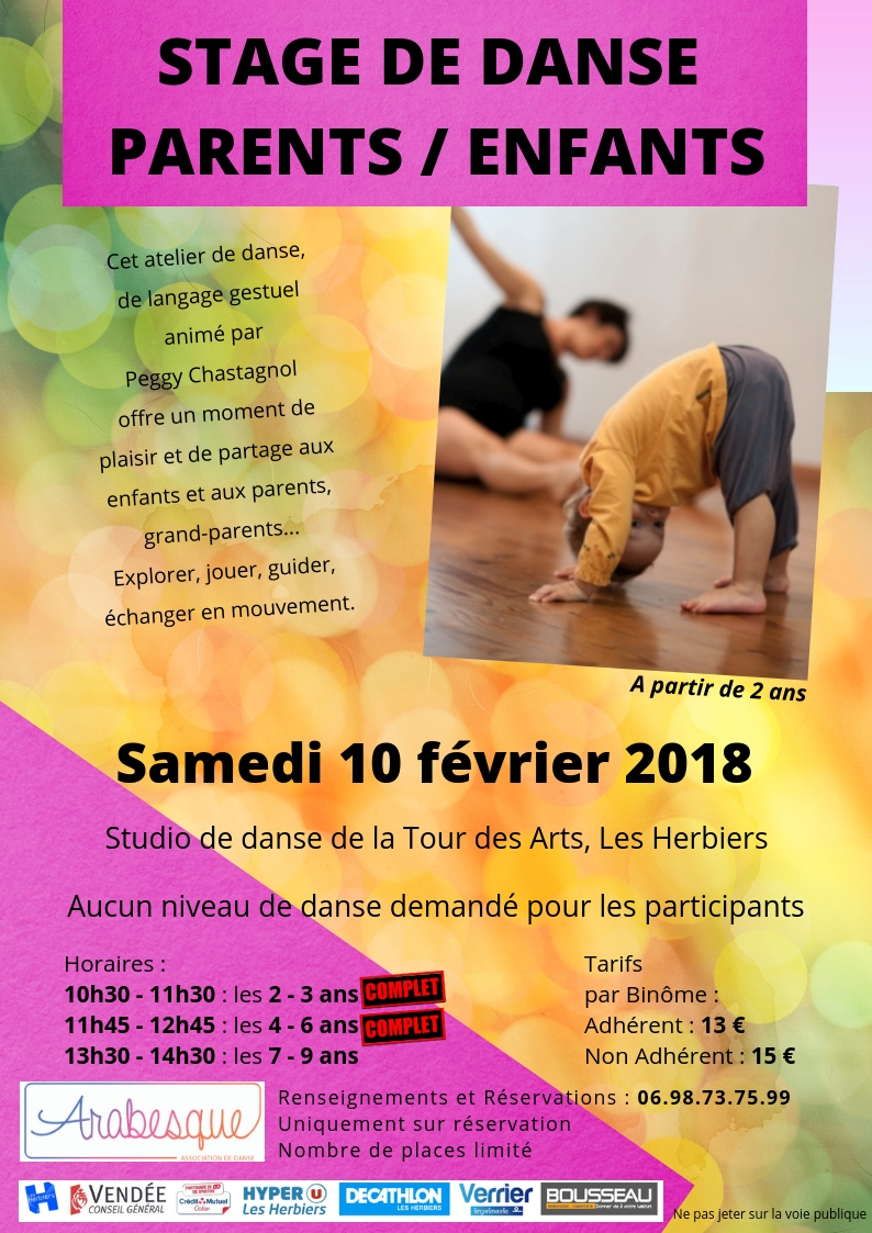 Stage de danse parents enfants arabesque les herbiers 10 02 2018